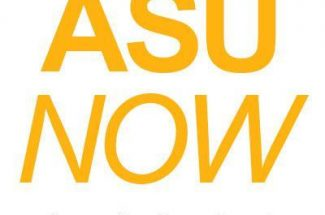 Logo for ASU Now: gold text against a white background.