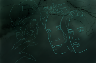 contour sketch of two faces and a most monster face. On a dark green background with lightening in the back ground